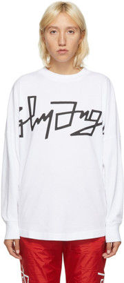 Palm Angels White Desert Logo Oversized Long Sleeve T-Shirt