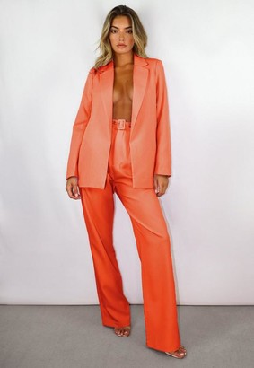 Missguided Petite Orange Co Ord Belted Wide Leg Pants
