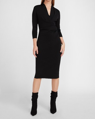 Express Gathered Side V-Neck Sheath Dress