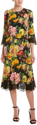 Dolce & Gabbana Floral Lace Silk-Blend Midi Dress