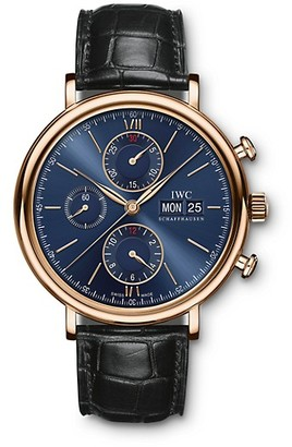 IWC Portofino 18K 5N Gold & Alligator Strap Chronograph Watch