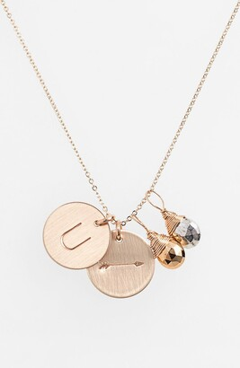 Nashelle Pyrite Initial & Arrow 14k-Gold Fill Disc Necklace