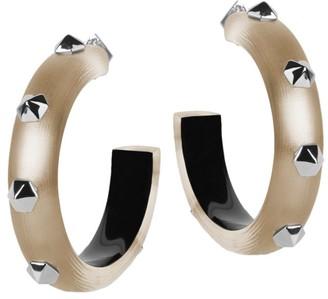 Alexis Bittar Hexagon Studded Lucite Thick Hoop Earrings