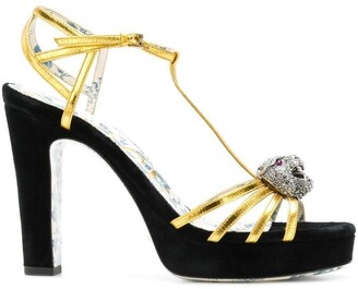 Gucci t-strap feline head sandals
