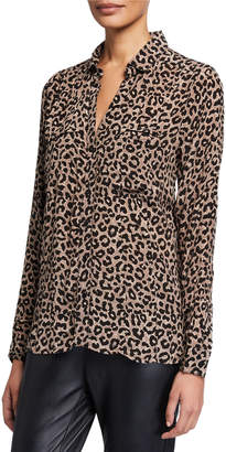 Tolani Acelyn Animal-Print Long-Sleeve Cupro Tunic