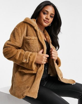 I SAW IT FIRST drawstring waist faux fur jacket in brown