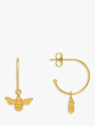 Estella Bartlett Bee Drop Hoop Earrings, Gold