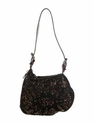 Fendi Python-Trimmed Embellished Oyster Bag Black