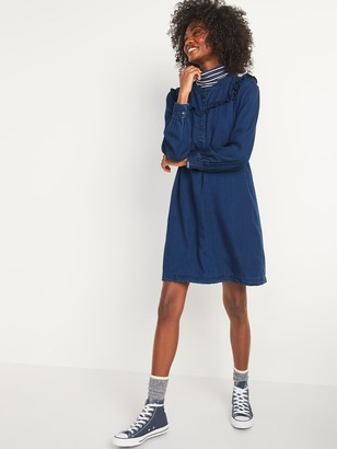 Old Navy Ruffle-Yoke Indigo Chambray Shirt Dress for Women
