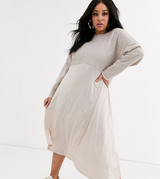 ASOS DESIGN Curve sweat midi dress with slinky hem in oatmeal