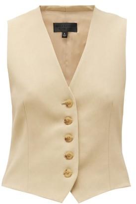 Nili Lotan Angelina V-neck Twill Waistcoat - Womens - Beige