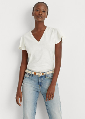 Ralph Lauren Cotton Flutter-Sleeve Tee