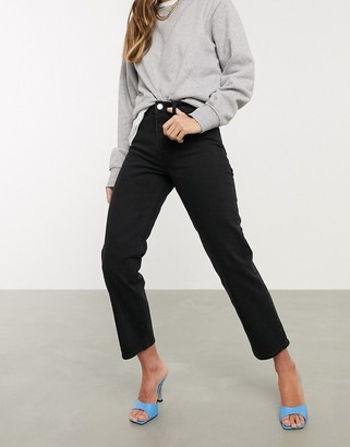 ASOS DESIGN high rise stretch 'slim' straight leg jeans in black