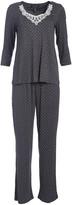 Rene Rofe Women's Sleep Bottoms DOTS - Charcoal Gray Polka Dot Graceful Lace Three-Quarter Sleeve Pajama Set - Women