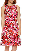 London Times Liz Claiborne Sleeveless Floral Fit-and-Flare Dress