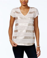 Tommy Hilfiger Sequin-Striped V-Neck Top, Only at Macy's