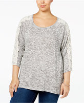 Style&Co. Style & Co. Plus Size Lace-Sleeve High-Low Sweater, Only at Macy's