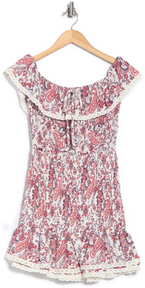 Lost + Wander Sofia Floral Paisley Ruffled Smocked Mini Dress