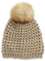 Lord & Taylor Fox Fur Pom-Pom Beanie