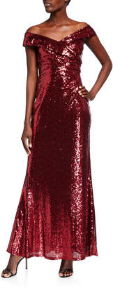 Marina Off-the-Shoulder Sequin Gown