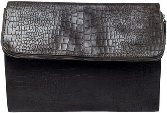 Giorgio Armani Dark Green Crocodile Embossed Leather Fold Over Document Case