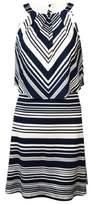 Jessica Simpson Women's Striped Popover Keyhole Dress (2, Print)
