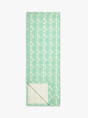 John Lewis & Partners Indian Block Print Cotton Table Runner, L250cm, Green Onyx
