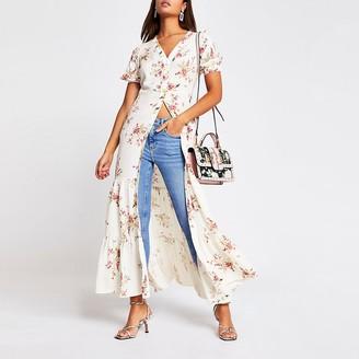 River Island Cream floral short sleeve midi dress