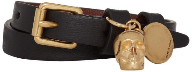 Alexander McQueen Black and Gold Double Wrap Skull Bracelet