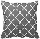 Dark Grey and White Decorative Cushion Covers Throw Pillow Case Moroccan Quatrefoil Pattern Print Square Two Sides 20x20 Inch