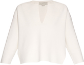 Stella McCartney Sculptural front cutaway wool-blend top