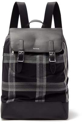 Paul Smith Check Embroidered Canvas & Leather Backpack - Mens - Black