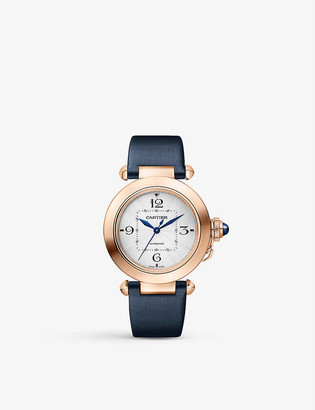 Cartier Pasha de 18ct rose-gold, sapphire and leather interchangeable strap automatic watch