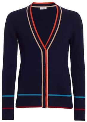 Akris Punto Multi-Color Trim Ribbed Stretch-Wool Cardigan