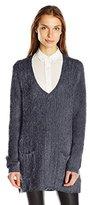 Jack by BB Dakota Women's Aristella V Neck Eyelash Sweater Tunic with Pockets