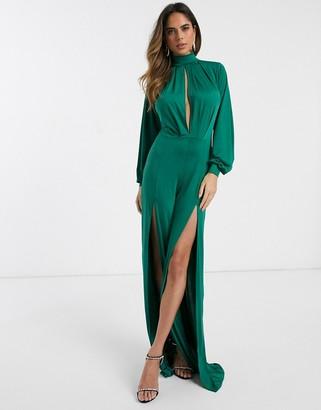 Asos Design DESIGN slinky jumpsuit with blouson sleeve and split leg-Green