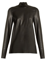 Joseph Vienna high-neck faux-leather top