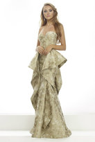 Janique - Printed Strapless Sweetheart Mermaid Gown With Ruffled Skirt C1681