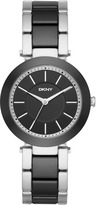 DKNY Stanhope Stainless Steel and Black Ceramic Watch