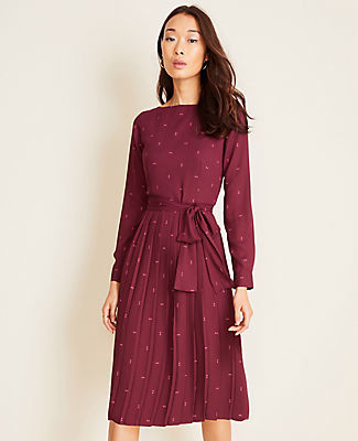 Ann Taylor Petite Squared Pleated Flare Dress