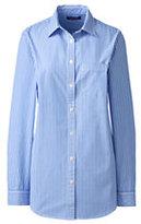 Classic Women's Plus Size Long Sleeve Cotton Tunic-Blue Toile Stripe