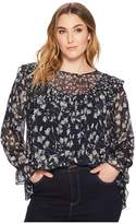 Lucky Brand Plus Size Ruffle Floral Top Women's Long Sleeve Pullover