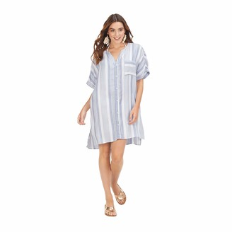 Mud Pie Women's Blue Tanner Striped Cover Up (Medium/Large)