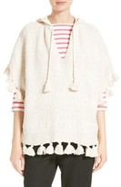 Kate Spade Women's Tassel Hooded Slub Cotton Poncho