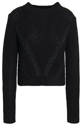 3.1 Phillip Lim Ls Cropped Grosgrain-trimmed Ribbed Cotton Sweater