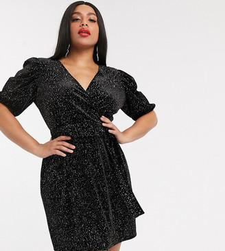 Asos DESIGN Curve glitter velvet mini tea dress-Black