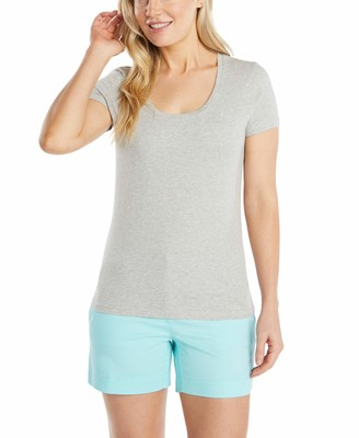 Nautica Women's Easy Comfort Scoop Neck Supersoft 100% Cotton Solid T-Shirt