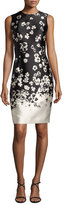 Carmen Marc Valvo Sleeveless Floral Taffeta Cocktail Dress, Black