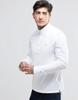 Farah Polo Shirt With Long Sleeves In Slim Fit White