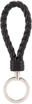 Bottega Veneta Leather Woven Key Ring in Black & Silver | FWRD